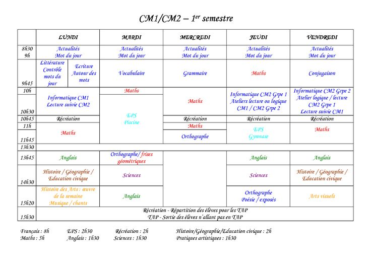Un emploi du temps de CM1/CM2 conforme aux nouveaux rythmes scolaires.