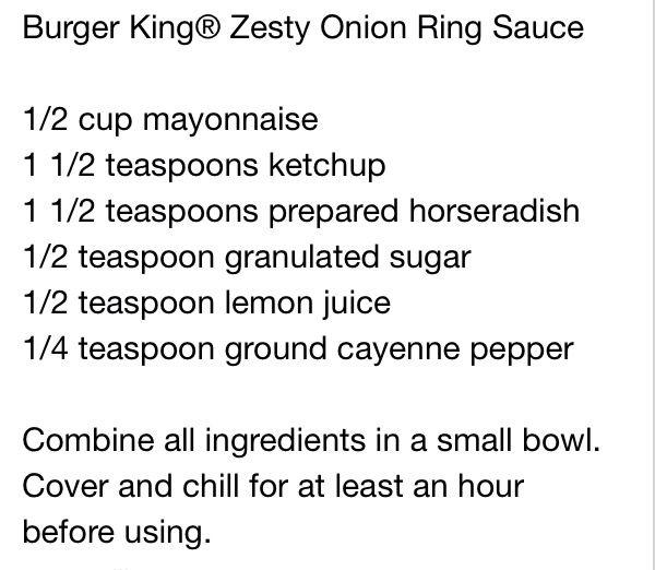 Burger King zesty sauce