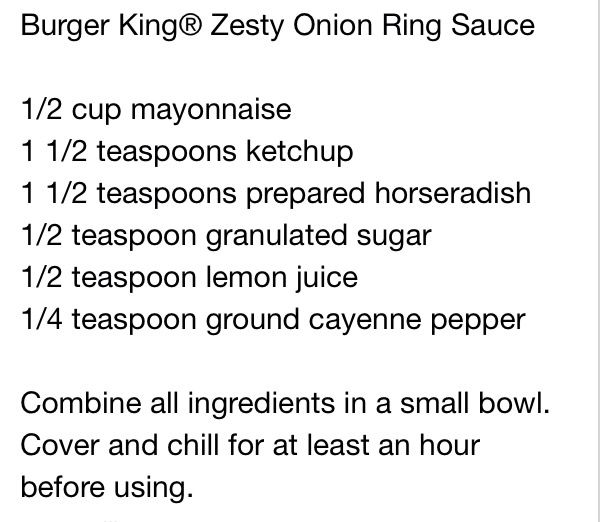 Burger King zesty sauce