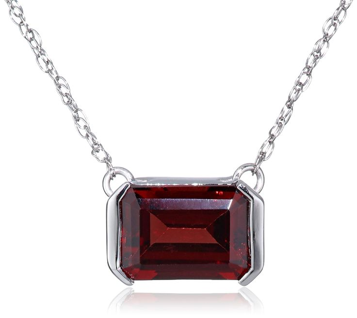 """10k White Gold Garnet Horizontal Rectangle Pendant Necklace, 18"""". Rope chain with spring-ring clasp. The natural properties and composition of mined gemstones define the unique beauty of each piece. The image may show slight differences to the actual stone in color and texture. Gemstones may have been treated to improve their appearance or durability and may require special care. Imported."""