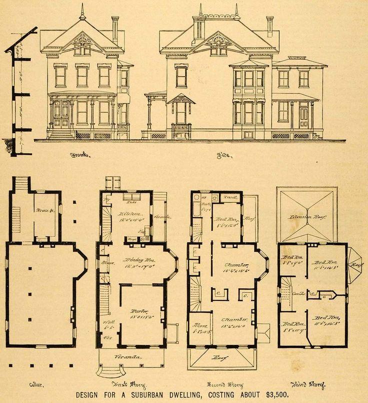 vintage Victorian House Plans | 1879 Print Victorian House Plainfield NJ George La Baw Floor Plans ...: