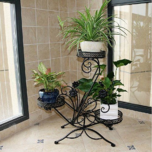 Dazone® 3 Tiered Scroll Decorative Metal Garden Patio Standing Plant Flower  Pot Rack Display