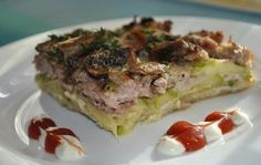 Кабачковая запеканка с мясом и грибами