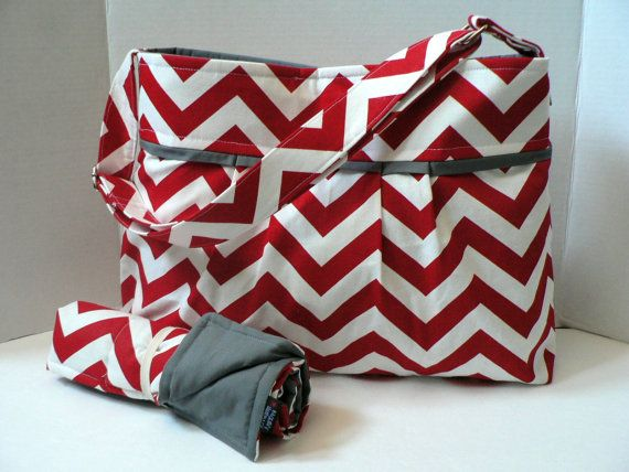 Monterey Chevron Diaper Bag Set - Medium - Red Chevron and Grey or Custom Design Your Own on Etsy, $95.00