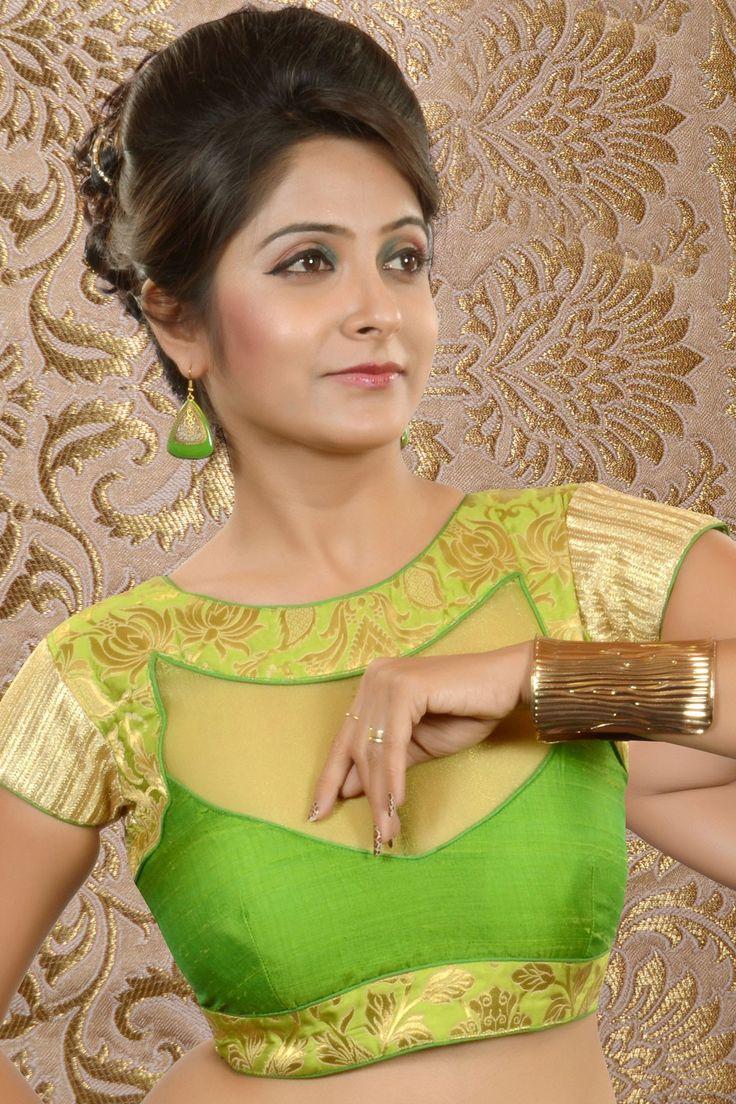 Parrot Green Raw Silk & Brocade weaved blouse -BL445