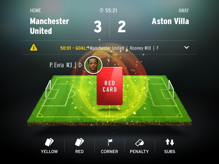 Cool stats interface for soccer app match