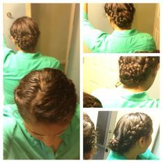 Wet hair bun: side part hair; Dutch braid side with less hair close to head and to the end, French braid other side same way (should be thicker bc it has more hair). Braid any remaining hair in the back. Make a small bun with the third braid. Wrap the French braid around clockwise or counterclockwise keeping the bun flat against your head. Secure with thin hairbow. Wrap Dutchbraid in opposite direction. Secure with second hairbow and pins.  When dry, leave it in or take it down for pretty…