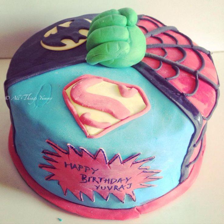 Time to save the world from all things evil? #superheroes #supermancake #superman #thehulk #spiderman #spidey #batman #allinone #fondantcake #kidsbirthday #bat #spiderweb #superheroes #designercake #customisedcake #chocolatecake #nanananabatman #boom #pow #comics #birthday #birthdaycake #birthdayparty