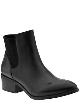 Seychelles Melancholy Bootie, low stretch back, low heels, black leather  booties