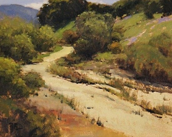 Salinas River Wash w/ Lupin by Brian Blood - Oil