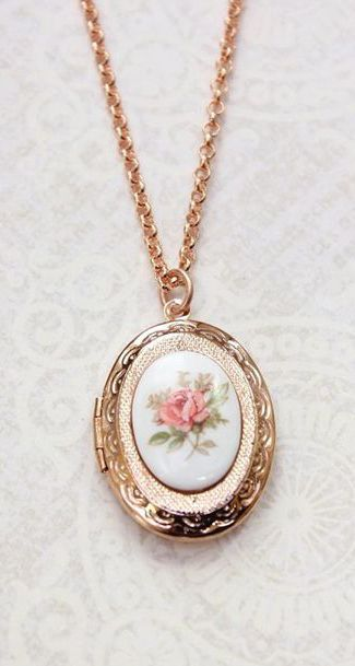 Rose Gold Locket Necklace Oval