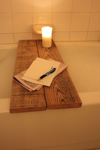 diy reclaimed oak bathtub caddy. Could paint or stain to match decor.