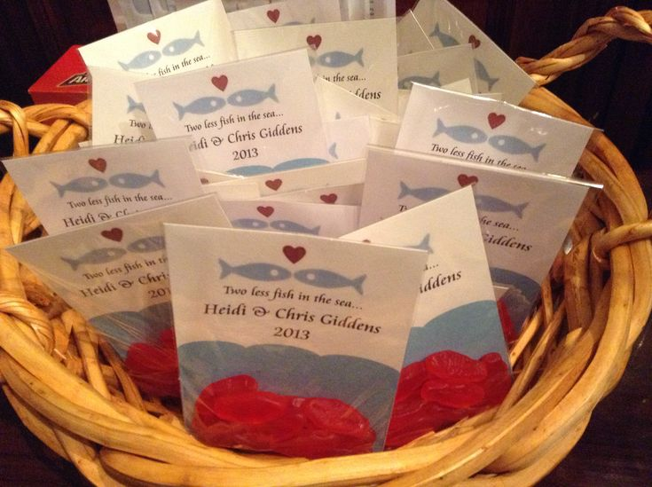 """Swedish Fish wedding favors for my sister's barbecue reception.  She got married in Jamaica so it went along with the beach theme... """"Two less fish in the sea"""""""
