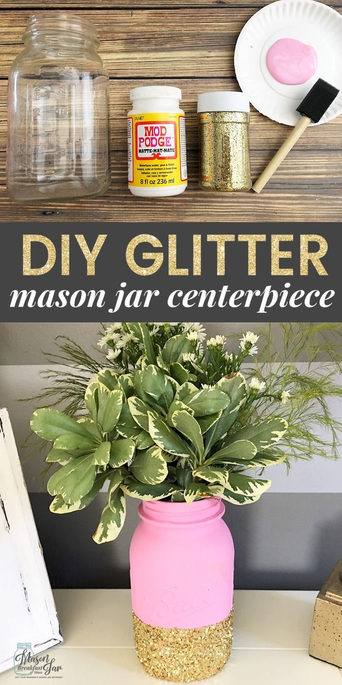 Want a fun and festive DIY Mason jar centerpiece idea? This Glitter Mason Jar Centerpiece is super simple to make, and it is the perfect way to add a little sparkle to any table. It would make a beautiful Mason jar wedding centerpiece or just a large Mason jar flower centerpiece for your dining table. Feel free to customize this homemade centerpiece by choosing your favorite paint and glitter colors. #masonjarcrafts #masonjarcenterpieces #masonjarideas #masonjargifts