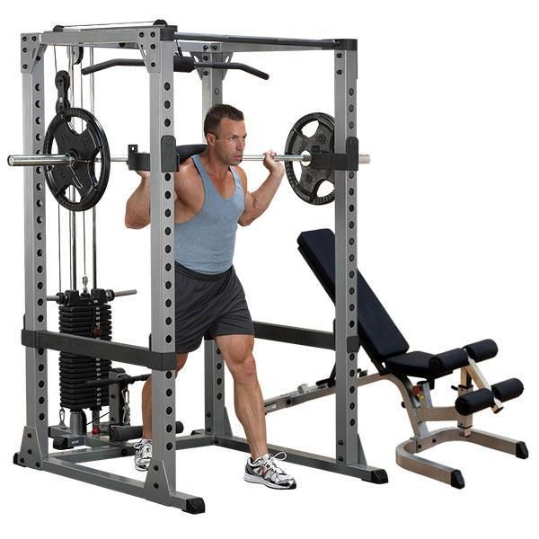 Body-Solid Power Rack Lat Package with Bench - GPR378P4