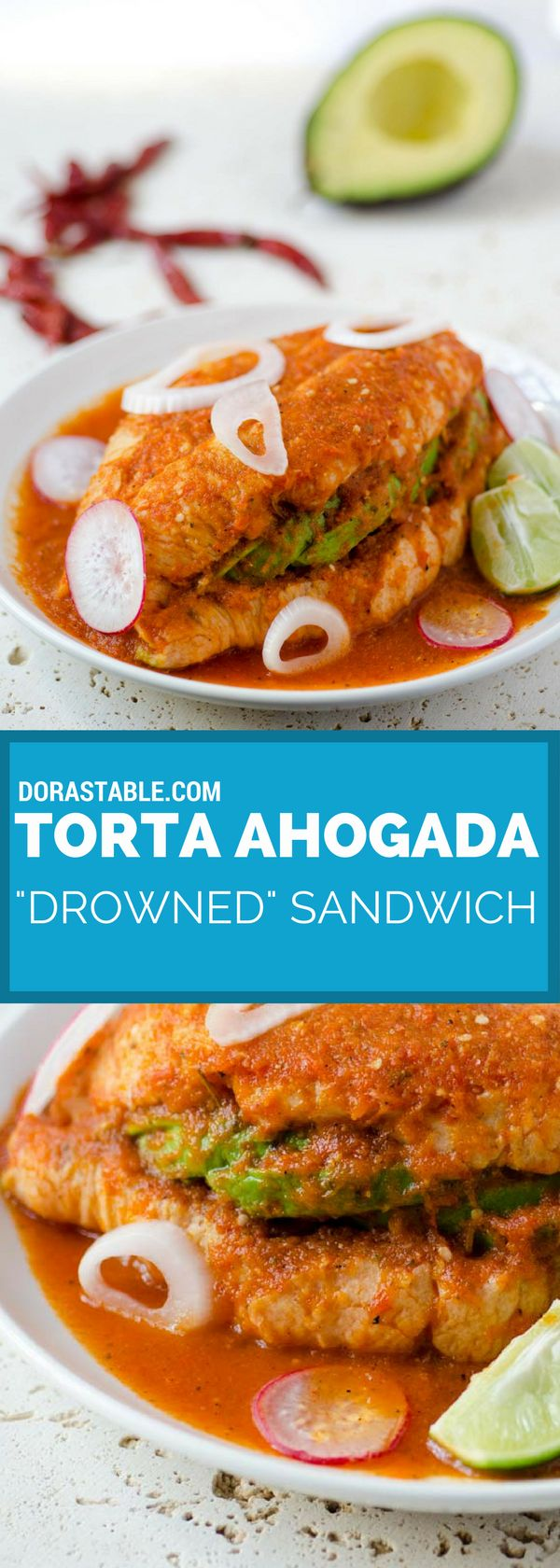 """This Torta ahogada or Mexican """"drowned"""" sandwich is a crusty bread torta filled with refried beans and avocado, and drowned in a spicy chile de arbol salsa. Recipe from Vegan Mexico Cookbook by Jason Wyrick. veganmexican 