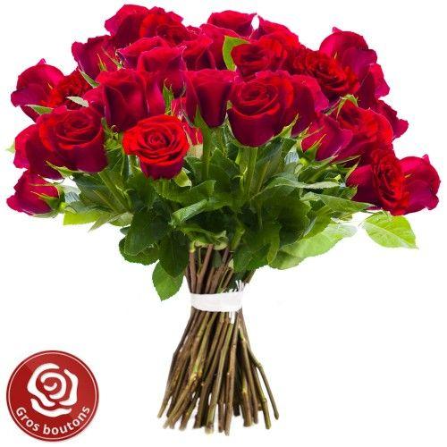 Brûlant !  Symbole d'amour par excellence, la rose rouge est déclinée ici d'une admirable manière. Sur leurs tiges immensément grandes, ces généreuses roses pourpres sont tout simplement époustouflantes. Une brassée voluptueuse et sensuelle à vous couper le souffle qui parle à elle seule passion et éternité. Une composition inédite et absolue romantique à souhait !
