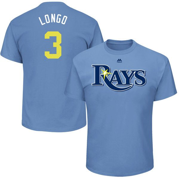 """Evan Longoria """"Longo"""" Tampa Bay Rays Majestic Youth 2017 Players Weekend Name & Number T-Shirt - Light Blue - $21.99"""