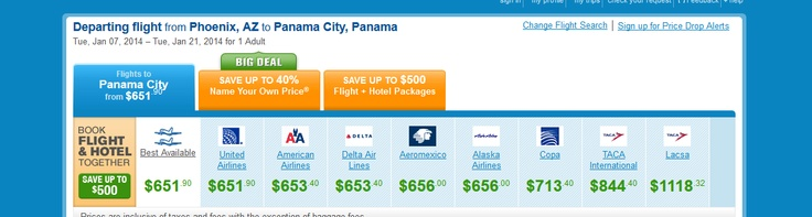 Panama flight prices. The airline schedule goes as far as January 2014. Starting at $651