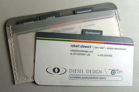 Diesel Design business cards of all staff members in one small package. http://www.dieseldesign.com/flash/index.asp