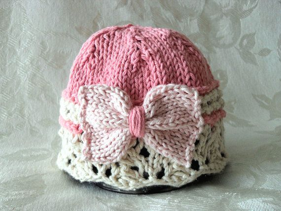 Hand Knitted Baby Hat in Pink and Ivory Lace with a Big Bow - Cotton Knitted Baby Cloche-Knitted Children Clothing -GIFT WRAPPED