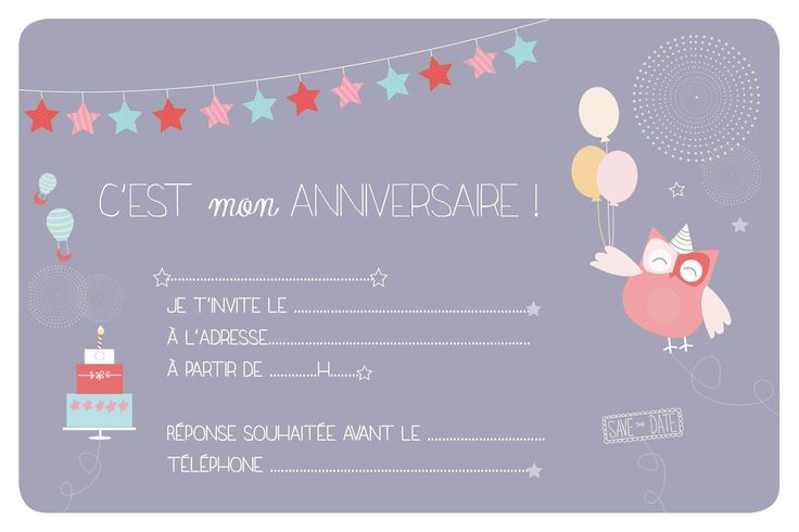 carte d invitation anniversaire fille
