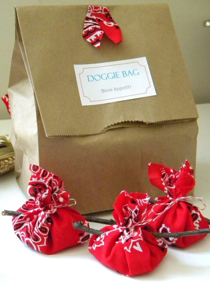 BBQ ideas: Doggie bags with little bandana hobo bags filled with mints or other candy.