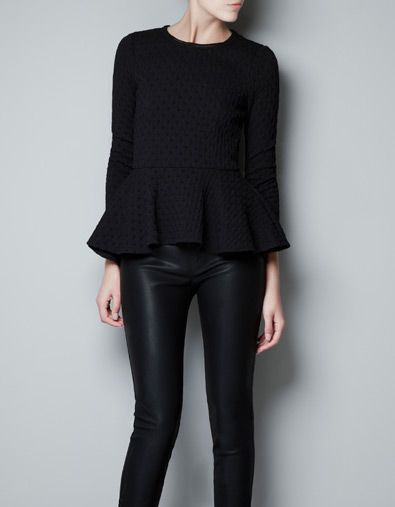 This looks like the cute Peplum that Jessica Simpson wore! Zara, Jacquard Peplum Top