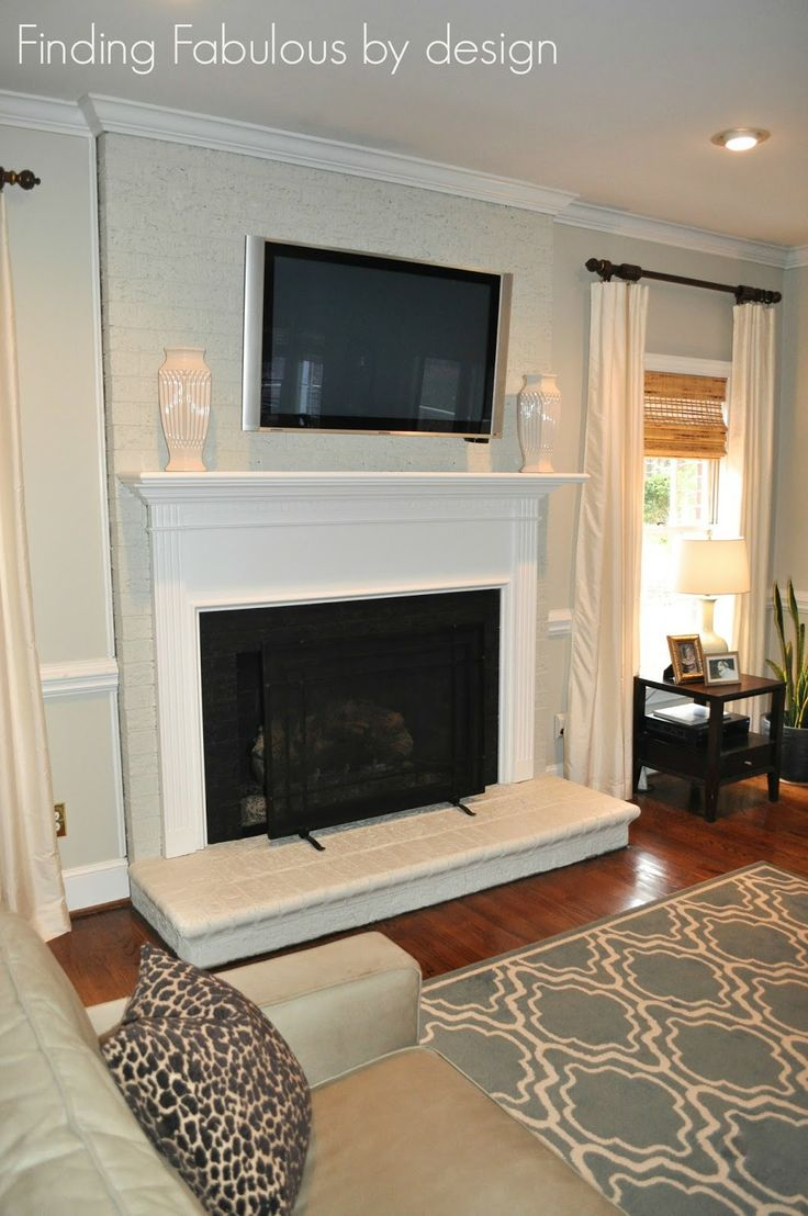 Painted brick fireplace floor to ceiling brick painted - Floor to ceiling brick fireplace makeover ...