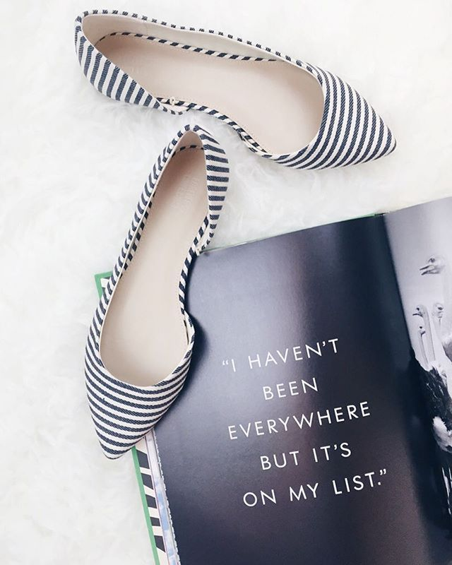 Wanderlust. 🌍✔️ | I haven't been everywhere but it's on my list. | via @asideofvogue's instragram | #shoes #travel #quotes #wanderlust #stripes #flats #travelstyle #fashion #style