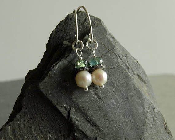 Emerald Diamond Earrings, natural gemstones, genuine diamonds, freshwater pearl, beautiful blue green Zambian emeralds, occasion earrings   https://www.etsy.com/shop/bluegreenjewels