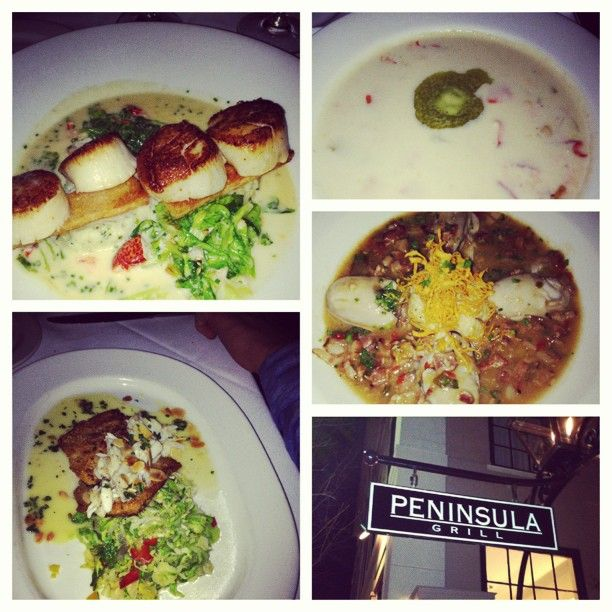 Lobster & corn chowder, oyster stew, seared scallops covered in a lobster buttercream, Carolina rainbow trout w/ Brussels sprouts and spinach (at Peninsula Grill in #Charleston)