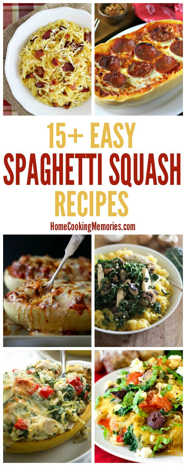 Over 15 Easy Spaghetti Squash Recipes for Dinner - both main dish & side dish. These simple recipes will give you plenty of ideas & inspiration for using this winter squash.