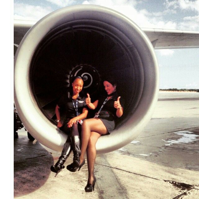 Spirit Airlines stewardess engine crewfie @marcias206