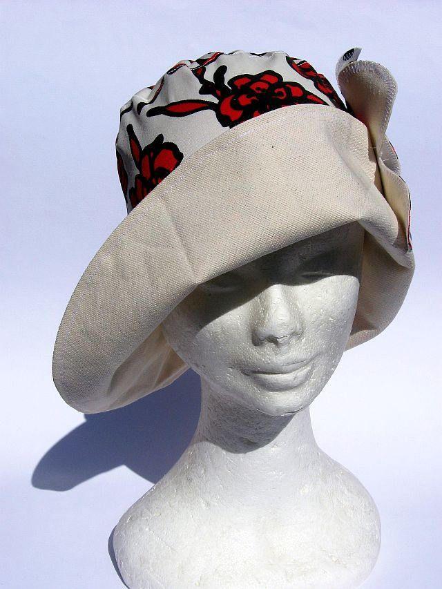 cappello donna, elegante, feminile, falda larga, primaverile estivo,fatto a mano, bianco rosso, womens summer hat , chapeau femme soleil di Janecolori su Etsy
