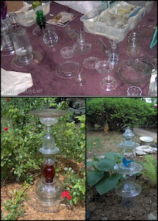 Glassware Garden Topiaries: Gardens Ideas, Glasses Gardens, Gardens Totems, Crafts Ideas, Totems Tutorials, Gardens Topiaries, Gardens Decorations, Gardens Art, Glasses Totems