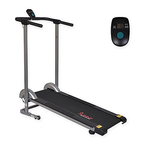 Sunny Health & Fitness ST-T1407M Manual Walking Foldable Treadmill in Grey with 2 Non-Slip Rails, Weight capacity: 220 lb.