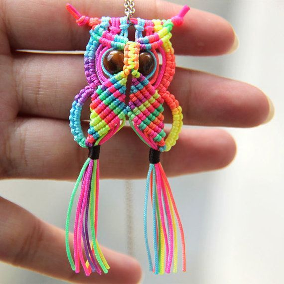 DIY Macrame Rainbow Owl Video Tutorial & Free Pattern https://www.youtube.com/watch?v=uDMaDuyKXB8 <- How adorable are these macrame owls ! Macrame is a craft that involves tying knots into decorative patterns. A variety of materials including string, silk, yarn or hemp can be used depending on the desired finished look. Any of these will work well for decorative pieces. Owls look fantastic when done with macrame.  http://www.free-macrame-patterns.com/rainbow-owl.html <- Pattern