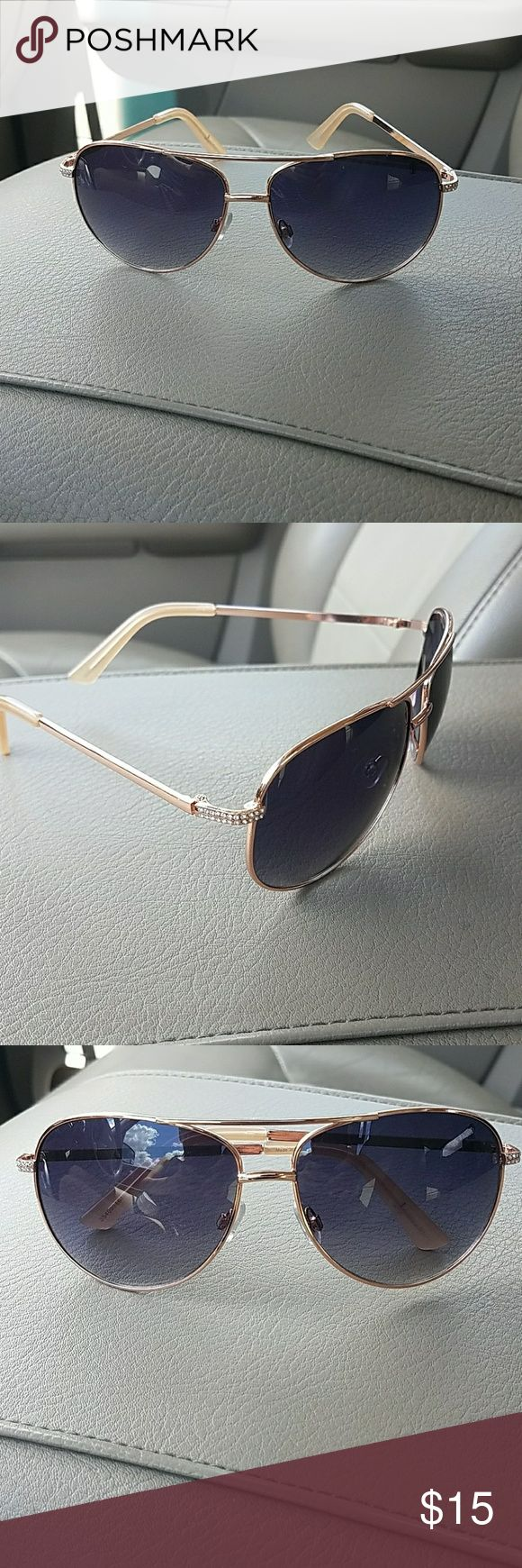 Gold-rimmed aviator  sunglasses Practically brand-new hardly worn. Always open for offers . Accessories Sunglasses