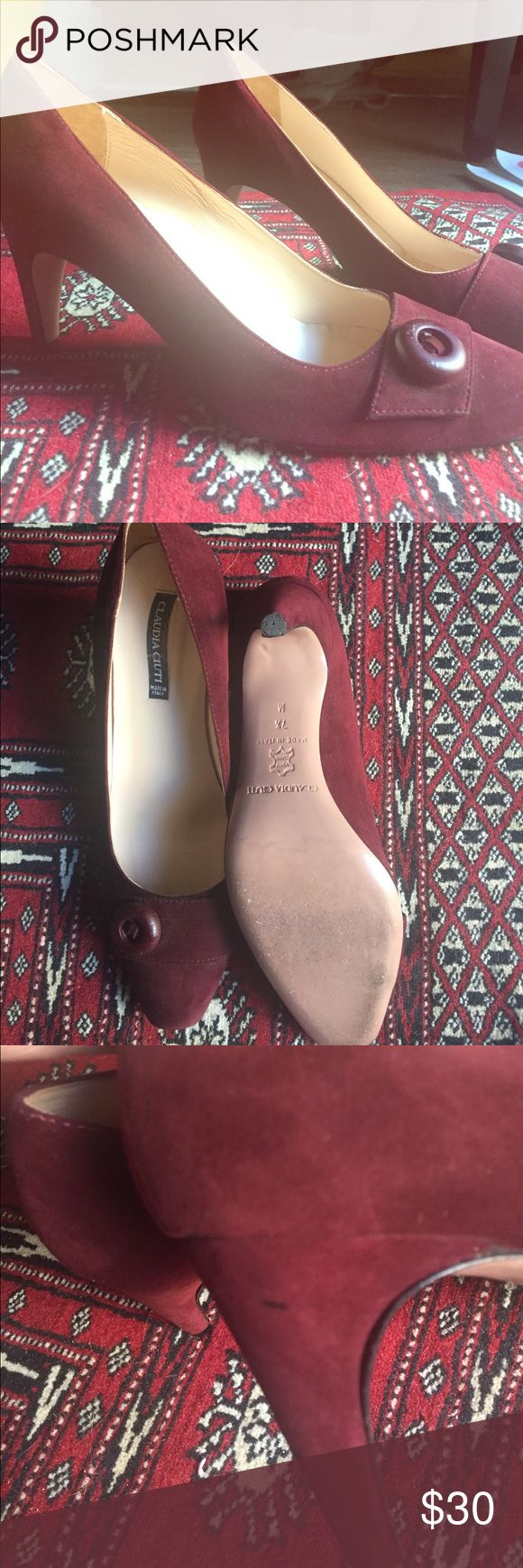 """Handmade Italian Leather Maroon Pumps 2.5"""" heel. Gently used, worn no more than 3 times. Minor scuffing as pictured. No trades, no PayPal. Claudia Ciuti Shoes Heels"""