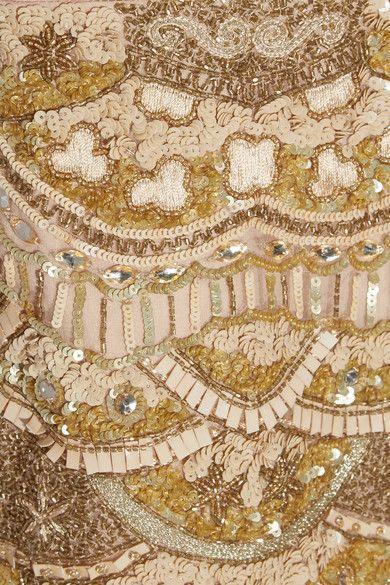 Alice Olivia - Patty Embellished Silk-chiffon Mini Dress - Gold