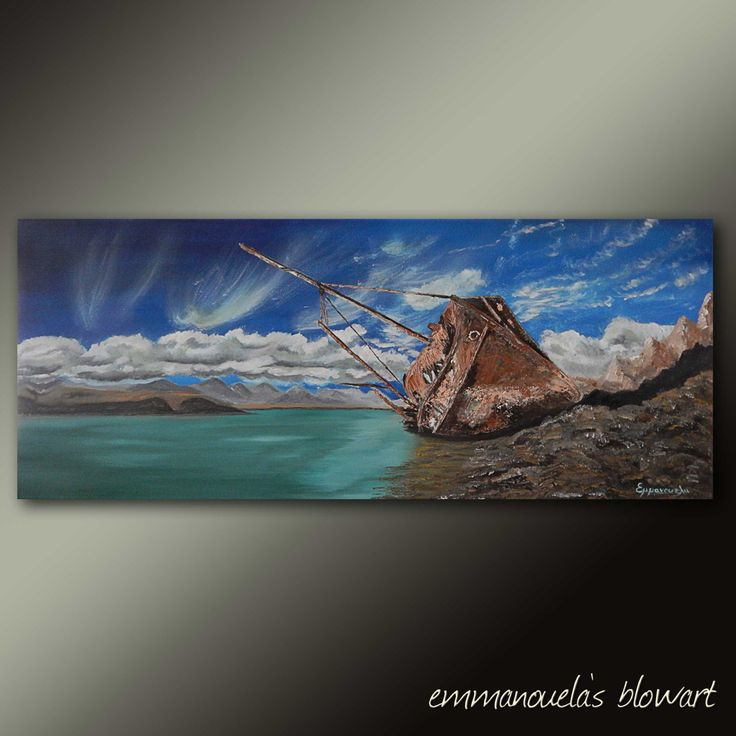Dreamcatcher-Original art seascape oil painting on canvas by Emmanouela-Size:100x40cm (39.4''x15.7'') by Blowart on Etsy