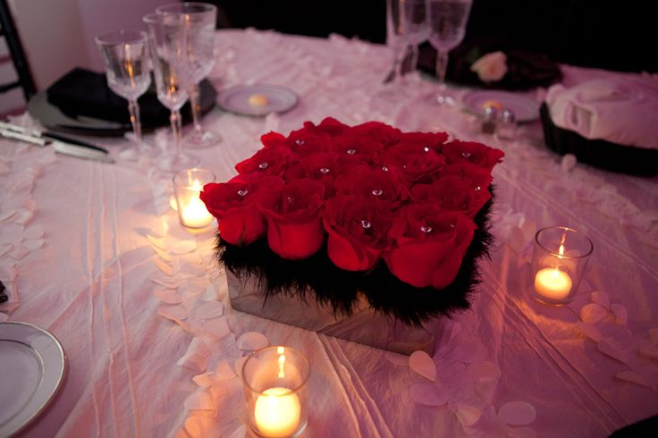 Red Rose Wedding Table Centerpieces