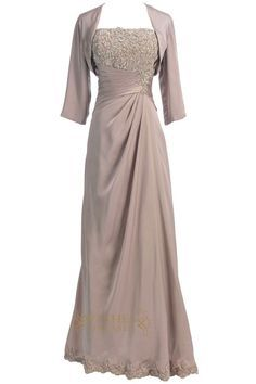 Satin strapless gown with a applique bodice and ruched detail at wast,Half sleeves jacket included. Neckline:StraightLength:Floor lengthDetails:Ruched,AppliqueF
