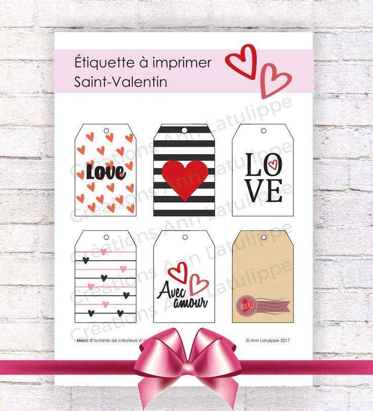 Étiquette imprimable Saint-Valentin, Valentine printable gift tag, gift label valentine's day à imprimer