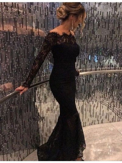 Off Shoulder Black Long Sleeves Long Mermaid Prom Dresses,HS203 from SIMI Bridal