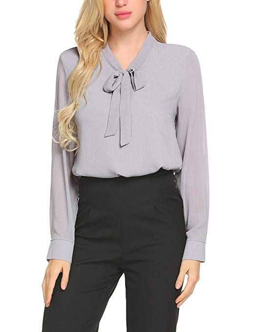 a17df3c5 ACEVOG Business Shirt Womens Pussycat Bow Tie Neck Long Sleeve Chiffon  Light Grey Blouse,Medium