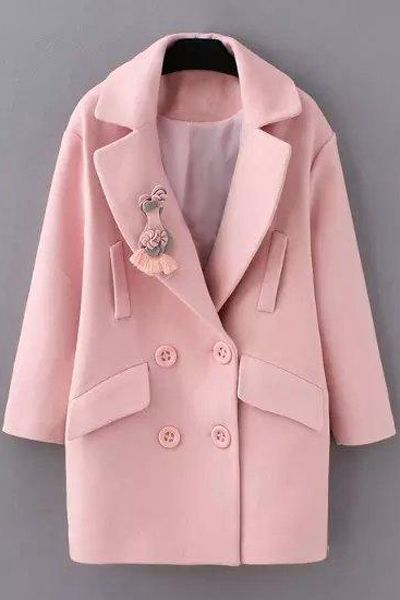 Solid Color Long Sleeve Woolen Coat