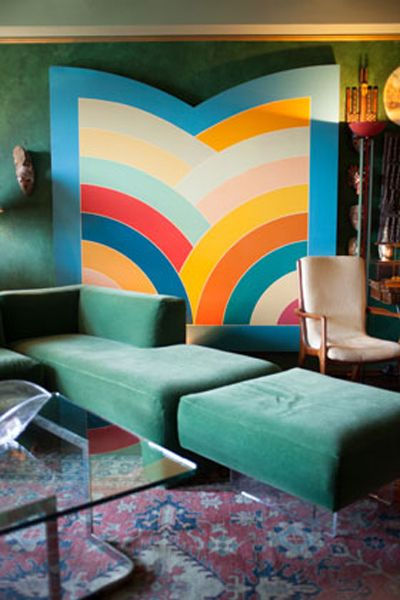 that wall though. /// Frank Stella Vladamir Kagan living room. Green velvet sofa.