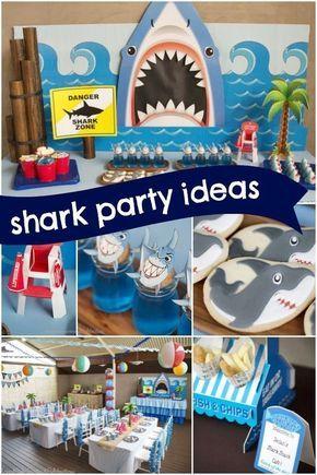 tiburón fiesta de cumpleaños temática de la playa de un niño